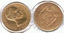 ESPAÑA ALFONSO XIII 20 PESETAS 1889 ORO GOLD A50 - [ 1] …-1931 : Reino