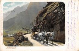 """05026 """"SVIZZERA - ALPENPOST  - CARROZZA POSTALE"""" ANIMATA, CARROZZA, CAVALLI. CART. POST. ORIG. SPEDITA 1902. - Non Classificati"""