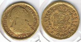 ESPAÑA CARLOS III  ESCUDO  1785 POPAYAN ORO GOLD A5 - Colecciones