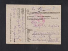 Yugoslavia POW Letter 1947Camp 48 Kdo. Jug To Germany - 1945-1992 Socialist Federal Republic Of Yugoslavia