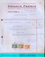 Factuur Facture - Etabl. Lithographique Edouard Peeters - Leuze 1950 - Imprimerie & Papeterie