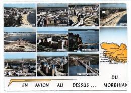CPSM - EN AVION AU DESSUS.......DU MORBIHAN - Multivues - Coul - Ann 50 - - Francia