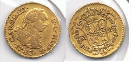 ESPAÑA CARLOS III MEDIO ESCUDO  1783 MADRID ORO GOLD A3 - [ 1] …-1931 : Reino