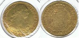 ESPAÑA COLOMBIA CARLOS IV 8 ESCUDOS  1806 NUEVO REINO ORO GOLD A16 - Colecciones