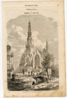 Amsterdam Gravure Engraving Netherlands Holland 1861 Church Kirche Cathedrale Eglise Street Sweeper Cleaner - Alte Papiere