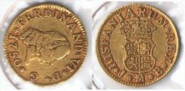 ESPAÑA FERNANDO VI MEDIO ESCUDO  1750 MADRID ORO GOLD A2 - [ 1] …-1931 : Reino