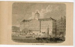 Amsterdam Gravure Engraving Netherlands Holland 1870 Stadthaus City Hall - Alte Papiere