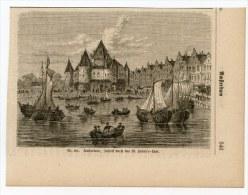 Amsterdam Gravure Engraving Netherlands Holland 1870 Hafen Port Ships Schiffe - Vieux Papiers