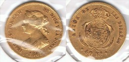 ESPAÑA ISABEL II 40 REALES MADRID 1861 ORO GOLD A 76 - Colecciones