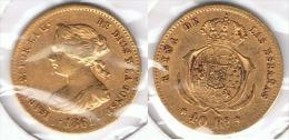 ESPAÑA ISABEL II 40 REALES MADRID 1861 ORO GOLD A 76 - [ 1] …-1931 : Reino