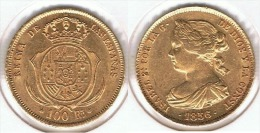 ESPAÑA ISABEL II 100 REALES 1856 MADRID ORO GOLD A23 - [ 1] …-1931 : Reino