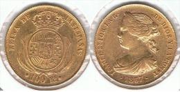 ESPAÑA ISABEL II 100 REALES 1857 BARCELONA ORO GOLD A26 - Colecciones