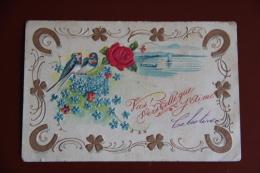 Vas, Vers Celle Que J'aime...Hirondelles Et Rose En Feutrine, Carte à Relief Trèfle Et Fer à Cheval - Brodées
