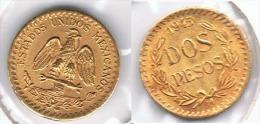MEXICO 2 PESOS 1945 ORO GOLD A54 - México