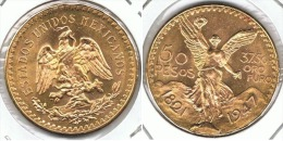 MEXICO 50 PESOS 1947 CENTENARIO ORO GOLD A55 - México