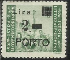 ISTRIA E LITORALE SLOVENO 1946 SEGNATASSE SOPRASTAMPATO TAXES OVERPRINTED TASSE POSTAGE DUE PORTO L. 2 SU 1 MNH VARIETY - Occup. Iugoslava: Litorale Sloveno