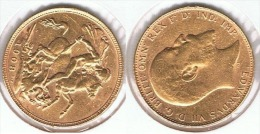 R.U. INGLATERRA EDUARDO VI SOBERANO 1908 ORO GOLD A 66 - 1 Sovereign