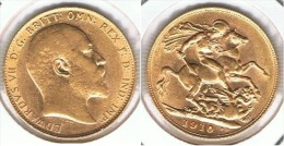 R.U. INGLATERRA EDUARDO VI SOBERANO 1910 ORO GOLD A 67 - 1902-1971 : Monedas Post-Victorianas