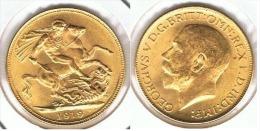 R.U. INGLATERRA JORGE V SOBERANO 1919 ORO GOLD A 69 - 1902-1971 : Monedas Post-Victorianas