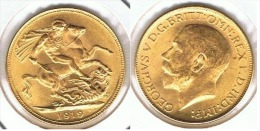 R.U. INGLATERRA JORGE V SOBERANO 1919 ORO GOLD A 69 - 1 Sovereign