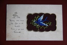 HIRONDELLE BRODEE Sur TULLE, Recto Verso De La Cpa - Brodées