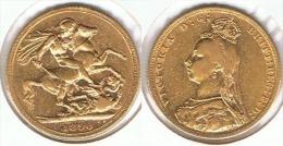 R.U. INGLATERRA VICTORIA SOBERANO 1890 ORO GOLD A 63 - 1816-1901 : Acuñaciones S. XIX