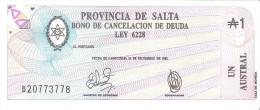 Argentina - Provincia De Salta - Pick S2612 - 1 Austral 1987 - Unc - Argentine