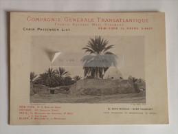 """Paquebot """"La Normandie"""" Compagnie Générale Transatlantique 1897 New-York Le Havre Ligne Directe Tougourt Mosquée Rare - Transports"""