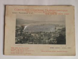 """Paquebot """"La Normandie"""" Compagnie Générale Transatlantique 1897 New-York Le Havre Direct Rare Bergen Norvège Norway - Titres De Transport"""