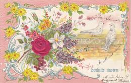 PH-CPA Carte Gaufrée (France) Relief  Brodée Roses Oiseaux - Bestickt