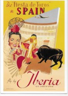 The Fiesta De Toros In SPAIN -Fly By IBERIA-Air Lines De Spain. - Publicité