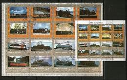 Umm Al Qiwain  2  Kleinbogen  Mi. 1210 / 1241  Lokomotiven - Treinen