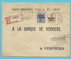 """BZ 15+18 Op Brief Aangetekend Met Firmaperforatie (perfin) """" N.F. """" Van NAGELMACKERS FILS & Cie A LIEGE - WW I"""