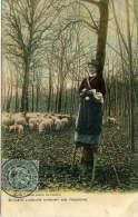 LANDES (40) - Bergère Landaise Sur Ses échasses Gardabt Son Troupeau De Moutons. - France