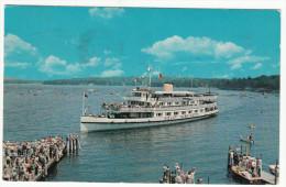 Vintage 1960 - Mount Washington - Docking At Weirs Beach - New Hampshire USA - Boat Bateau - 2 Scans - Ships