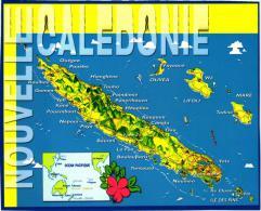 NOUVELLE CALEDONIE ,CONTOUR DE L'ILE ET SITUATION GEOGRAPHIQUE  ,COULEUR REF 46248 - Nouvelle-Calédonie