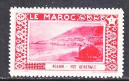 FRENCH  MOROCCO   LABEL  AGADIR    * - Morocco (1891-1956)