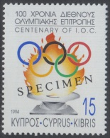 Specimen, Cyprus Sc830 International Olympic Committee Centenary, Jeux Olympiques - Olympic Games