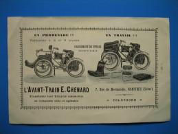 (1900) Tricycle/Automobile/Voiturette AVANT-TRAIN E. CHENARD à Asnières (Seine) - Sellerie Française CROUZILLARD à Paris - Vieux Papiers