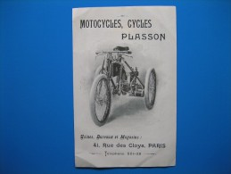 """(1900) Motocycles, Cycles PLASSON Rue Des Cloys à Paris - Cycles & Motocycles """" LE MOBILE """" Rue Vivienne à Paris - Vieux Papiers"""