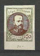 LITAUEN 1921 Mittellitauen Central Lithuania Michel 43 B * - Lituanie