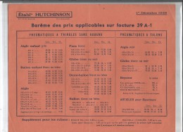 VP.0232/ Hutchinson - Barême Des Prix - Pubblicitari