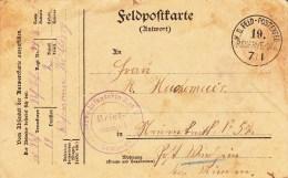 Reserve Infanterie Rgt Nr 74 * 8 Kompagnie * + TàD K.D. FELD-POSTEXPED 19. RESERVE - DIV Du 7/1 Sur Feldpostkarte - Guerre De 1914-18