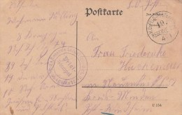 Reserve Infanterie Rgt Nr 74 * 8 Kompagnie * + TàD K.D. FELD-POSTEXPED 19. RESERVE - DIV Du 4/1 Sur Feldpostkarte - Guerre De 1914-18