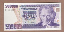 AC - TURKEY 7th EMISSION 500 000 TL D 01 000 981 UNCIRCULATED - Turquie
