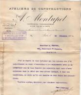 VP3526 - Lettre - Ateliers De Constructions A. MONTUPET à PARIS - 3 Médailles à L´Exposition Universelle Paris 1900 - Documents