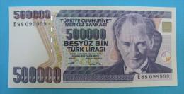 AC - TURKEY- 7TH EMISSION 500 000 TL E 88 099 999 RADAR UNCIRCULATED - Turkije