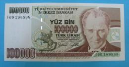 AC - TURKEY- 7TH EMISSION 100 000 TL I 69 188 888 RADAR UNCIRCULATED - Turquie