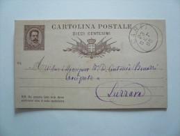 Regno - Cartolina Postale Da Dieci Centesimi Viaggiata Da Carpi A Luzzara - 1885 - 1878-00 Umberto I