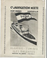 Encart Publicitaire/Cie Navigation Mixte/Port Vendres-Marseille/Algérie-Tunisie/RevueTouring Club France/1938    ILL99 - Transports
